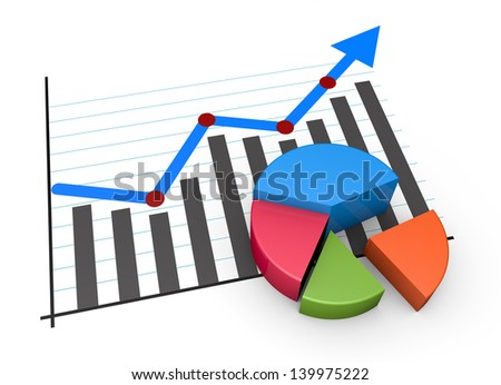 Financial pie chart and linear graph - stock photo