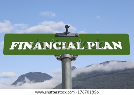 Financial plan road sign - stock photo
