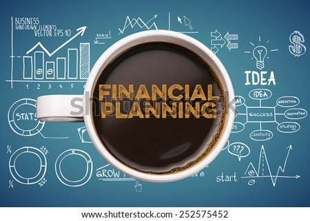 financial planning. coffee cup with business sketches background - stock photo