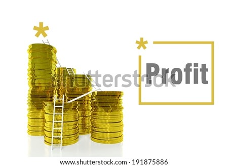 Financial profit concept, ladders on gold coins - stock photo