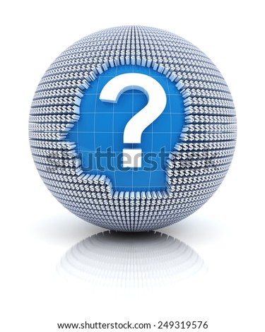 Financial questions icon on globe formed by dollar sign, 3d render - stock photo