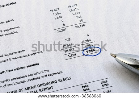 Financial  report and pen. Cooling filter - stock photo