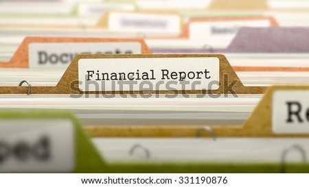Financial Report Concept on File Label in Multicolor Card Index. Closeup View. Selective Focus.  - stock photo