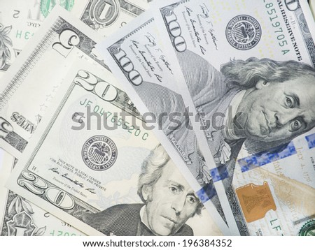 Financial report with dollars banknote - stock photo