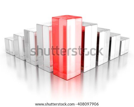 Financial Rising Bar Chart Graph With Reflection. Business Grow Concept 3d Render Illustration - stock photo