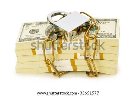 Financial security concept - padlock and dollars on white - stock photo