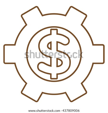Financial Settings glyph icon. Style is stroke flat icon symbol, brown color, white background.