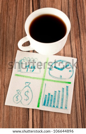 Financial sign on a napkin and cup of coffee - stock photo