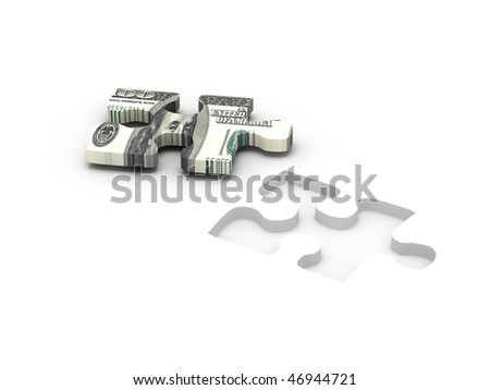 Financial solution. Part of puzzle with image of dollar isolated on white background. High quality 3d render. - stock photo