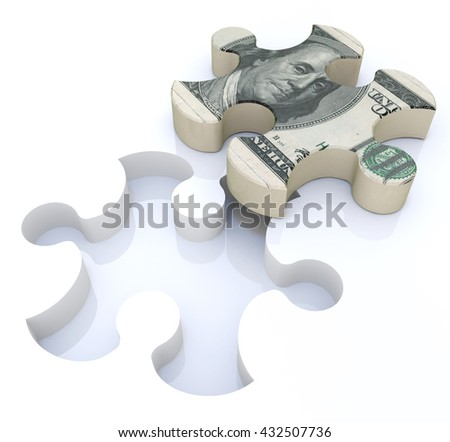 Financial solutions puzzle in the design of information related to economics and finance. 3d illustration - stock photo