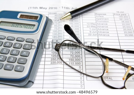 Financial statement for money calculation - stock photo
