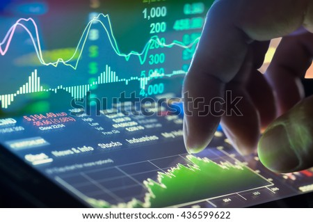 Financial stock market data. Candle stick graph chart of stock market  ,stock market data graph chart on LED concept, work for stock market background ,stock market education and stock market analysis - stock photo