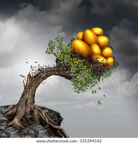 Financial success problem and investment stress symbol as a growing tree breaking due to the excess weight of growth income as a group of golden nest eggs pushing the plant down. - stock photo