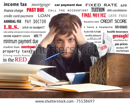 Financial text and worries surround this woman while she writes checks and pays her bills - stock photo