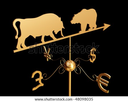 Financial weather vane with a bull, bear and dollar, euro, pound sterling and yen symbols - stock photo
