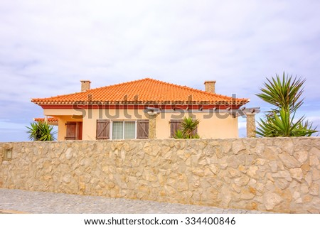 Finca house - vacation home with mural in front - stock photo