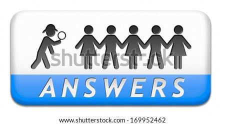 find answers on your questions search solution and information at online info or information support desk - stock photo
