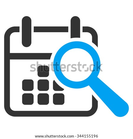 Find Date glyph icon. Style is bicolor flat symbol, blue and gray colors, rounded angles, white background. - stock photo