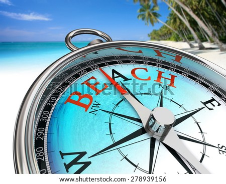 find the beach, word on concept compass on perfect vacation background - stock photo