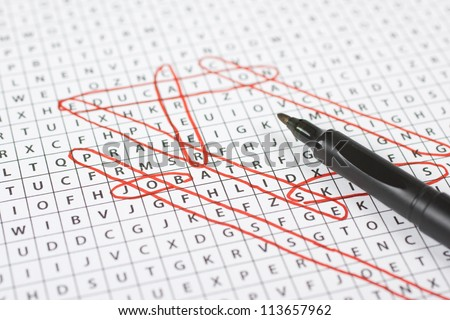 Find the job concept - words related to job in the word search game. - stock photo
