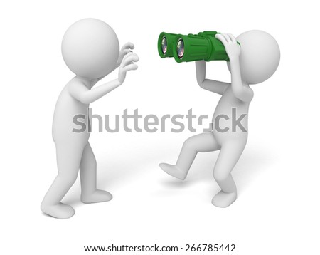 Find the opportunity/A 3d people searching with a binoculars. 3d image. Isolated white background - stock photo