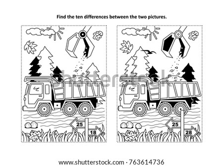Find The Ten Differences Picture Puzzle And Coloring Page With Working Tip Truck Hopper