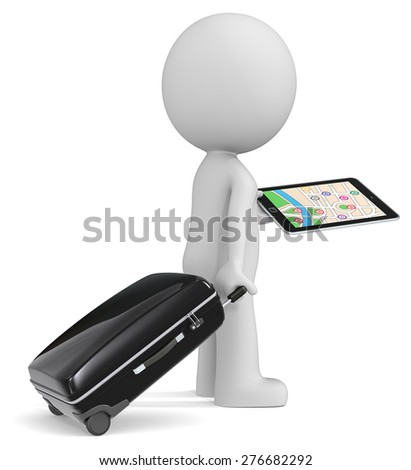 Find the way. The dude 3D character holding suitcase, tablet computer GPS. - stock photo