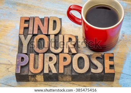 FInd your purpose - motivational phrase in vintage letterpress wood type blocks stained by color inks - stock photo