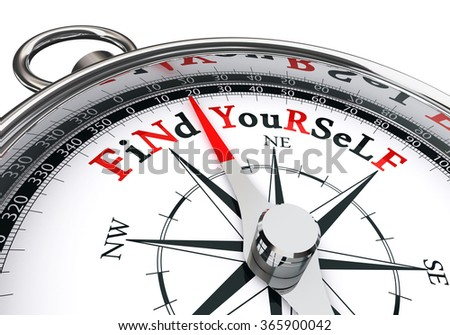 find yourself the way indicated by motivation compass, isolated on white background - stock photo