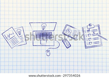 finding inspiration: documents, laptop, phone, tableet and to do list displaying new ideas - stock photo