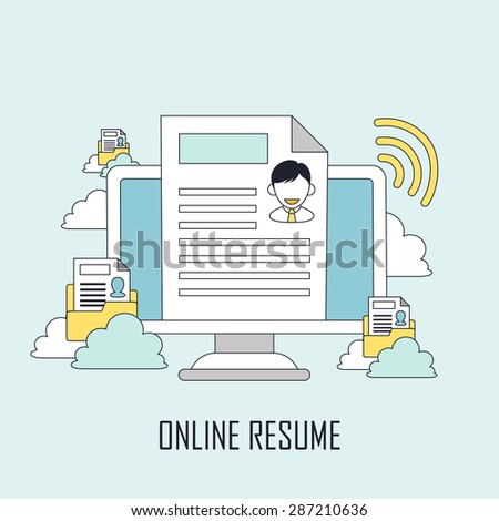 finding job concept: online resume in line style - stock photo
