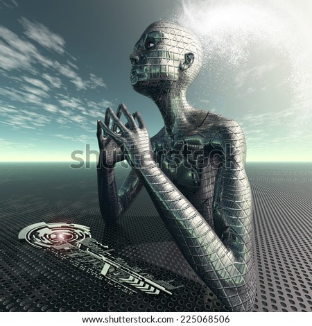 Finding the right key to the future - stock photo