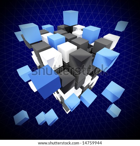 fine abstract  background 3d cube construction - stock photo