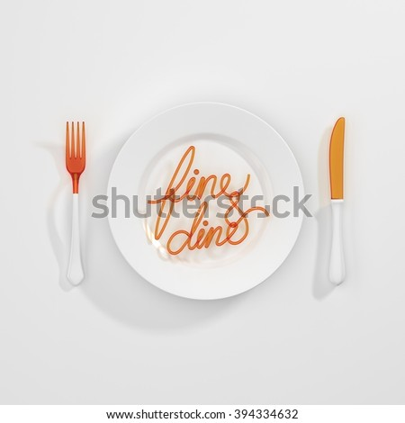 Fine and dine Quote Typographical Background. minimal illustration with fork and spoon - white orange - stock photo