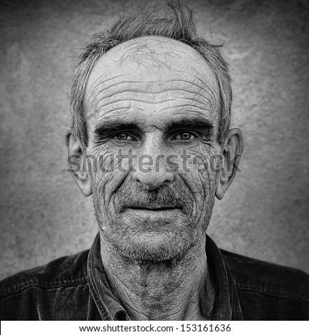 Fine ar photo of elderly bald man with wrinkled face and mustaches, grungy  background - stock photo