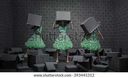 Fine art photo collage of three fashionable women - stock photo