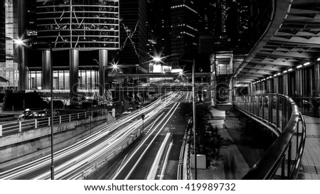 Fine art photography of Hong Kong city in contrast black and white edition - stock photo