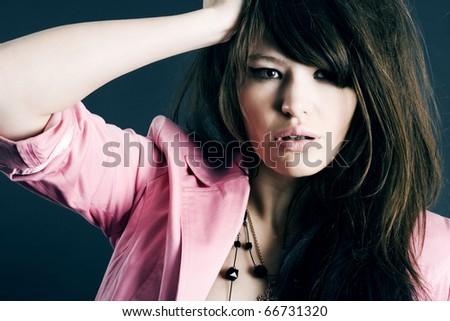 Fine art portrait of a young beautiful woman - stock photo