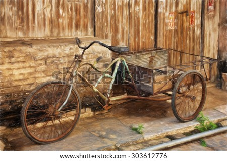 Fine art print of an antique bicyle in the old town of Daxu China.  Daxu Ancient Town was built at the beginning of the Song dynasty. - stock photo