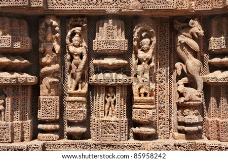 Fine carved sculptures at Sun temple konark - stock photo