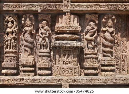Fine carving of sculptures, Sun Temple, Konarak - stock photo