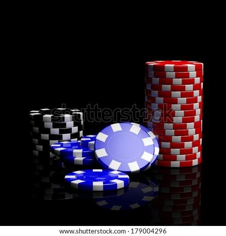 Fine casino gaming checks isolated on black background  - stock photo
