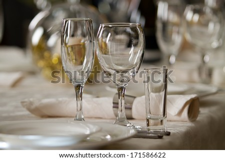 Fine Crystal Table Setting at a Restaurant - stock photo