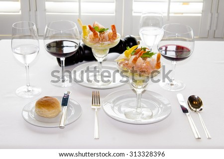 Fine Crystal Table Setting at a Restaurant-Restaurant dining table - stock photo
