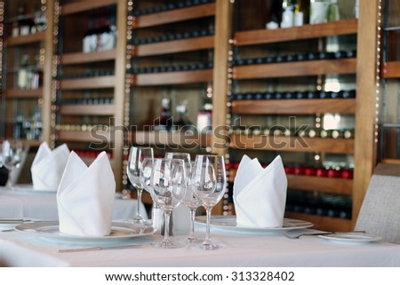 Fine Crystal Table Setting at a Restaurant-Table at Restaurant - stock photo