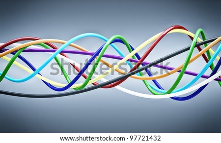 fine 3d background of cable - stock photo