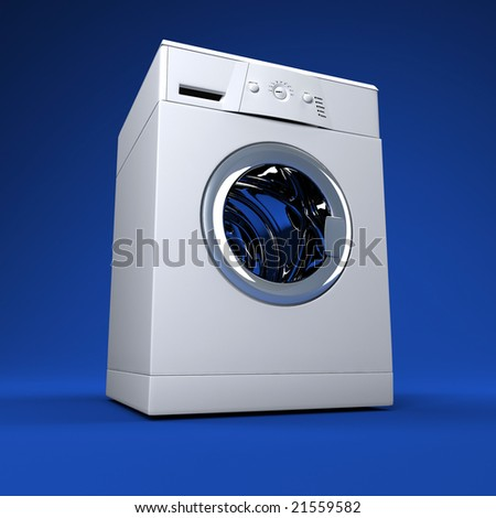 fine 3d image of classic washing machine background