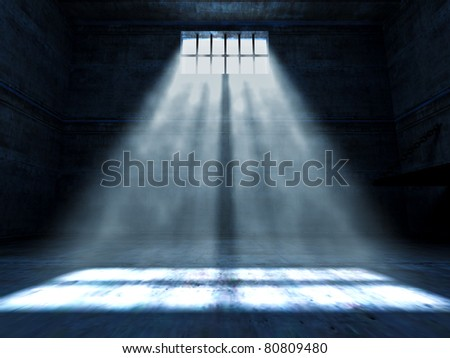 fine 3d image of dark grunge prison - stock photo