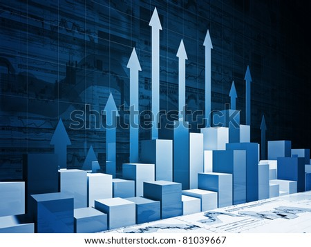 fine 3d image of financial business chart - stock photo