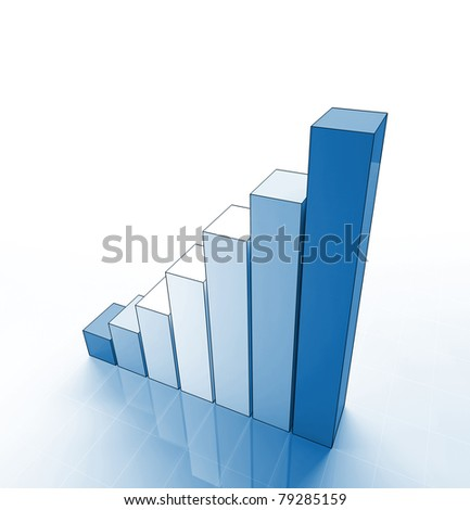 fine 3d image of growing blue graph